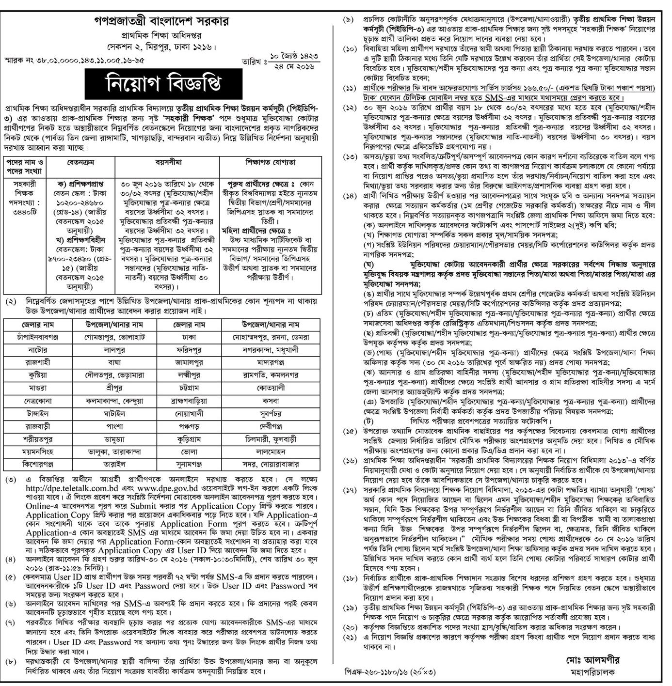 Government Primary School Assistant Teacher Recruitment (Job