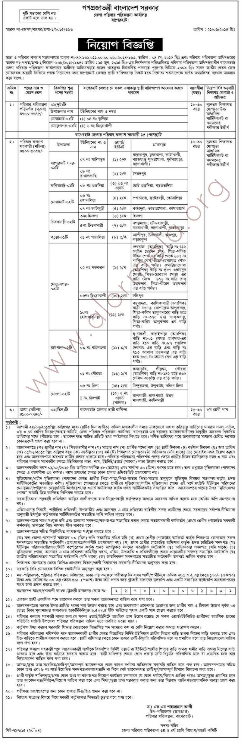 Directorate general of family planning dgfp recruitment for Family planning com