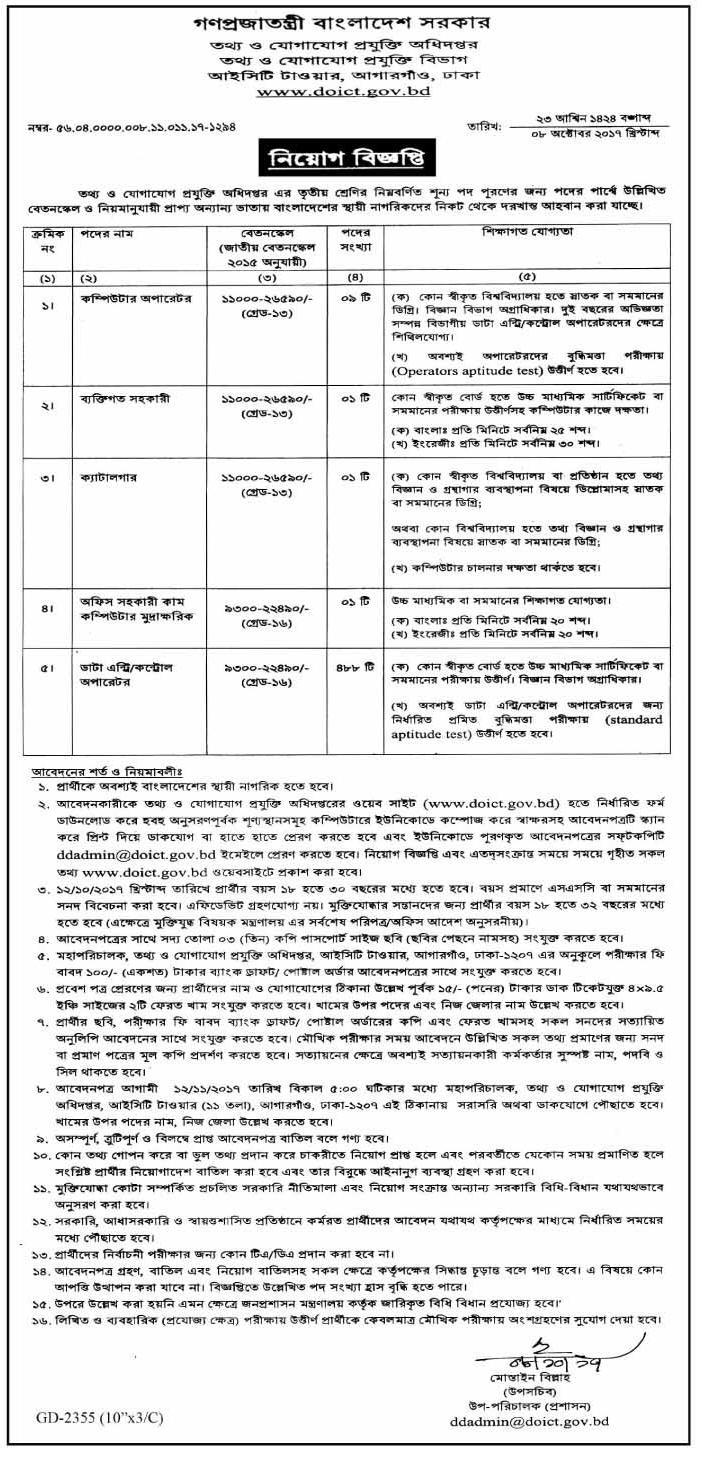 Directorate of Information and Communication Technology Job