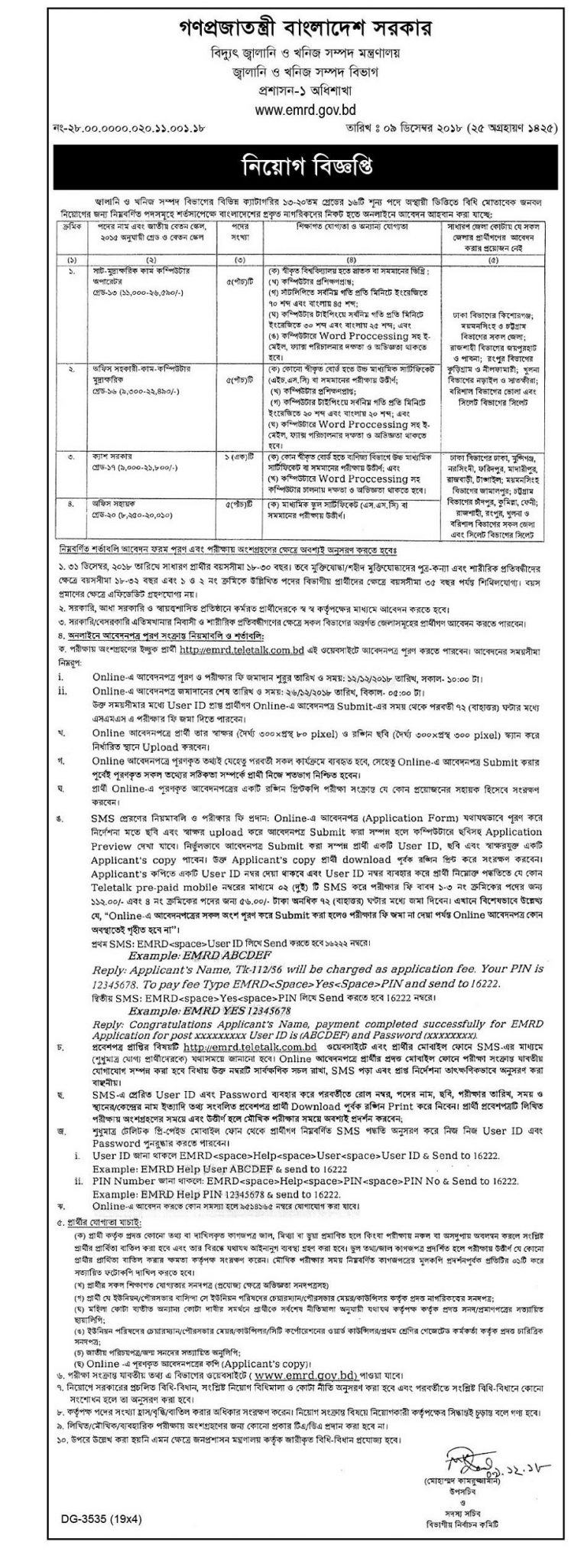 EMRD%20Job%20Circular%202018 Job Application Form Of Ministry Public Administration on