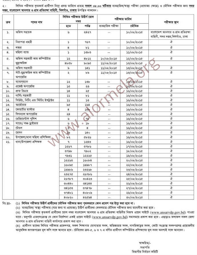 Ansar VDP Oral Test Schedule 2015