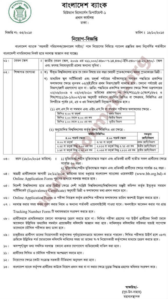Bangladesh Bank Assistant Director Genaral Side Job Circular