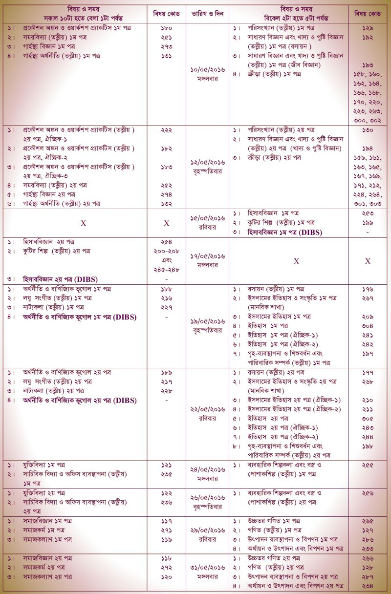 HSC and DIBS Exam Routine 2 2016