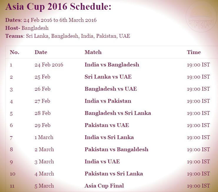 asia cup cricket fixture 2016
