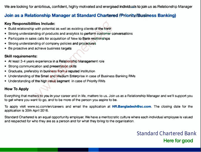 recruitment for standard chartered bank and commercial banks Title: relationship manager (commercial banking) - (1800023617) description about standard chartered we are a leading international bank focused on helping people and companies prosper across asia, africa and the middle east.