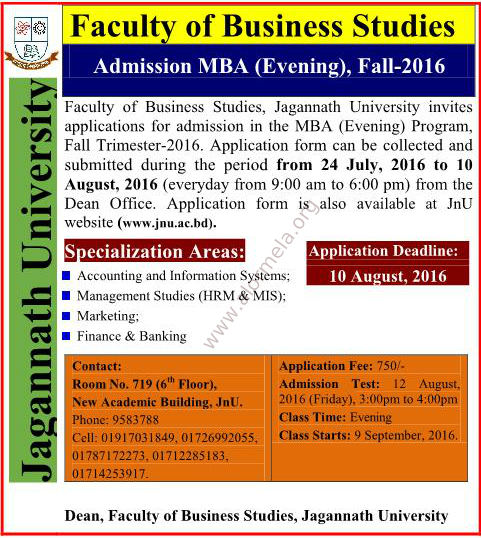 Jagannath University EMBA Admission Fall