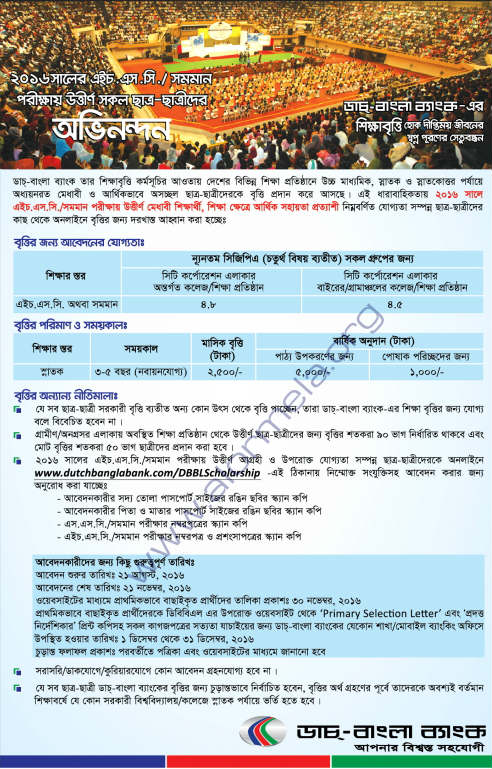 Dutch Bangla Scholarship