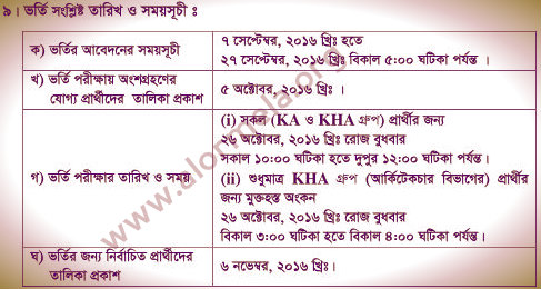 RUET Admission Schedule 2016