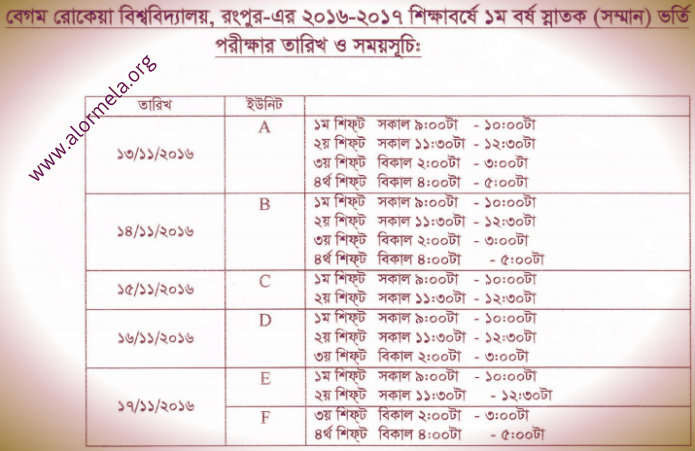 BRUR Admission Schedule 2016 17