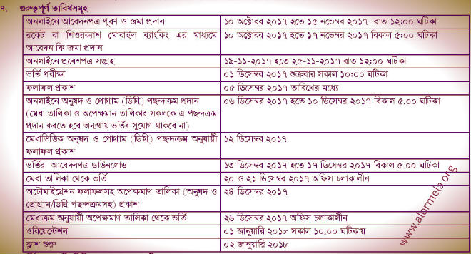 SAU Admission Schedule 2017 2018