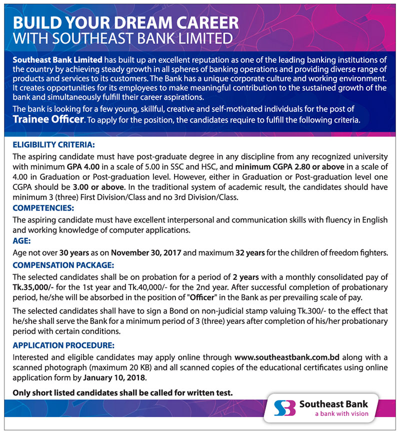southeast bank Trainee Officer job 2018