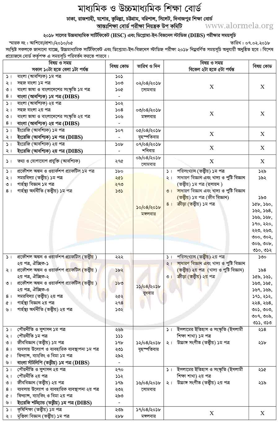 hsc and dibs exam routine 2018
