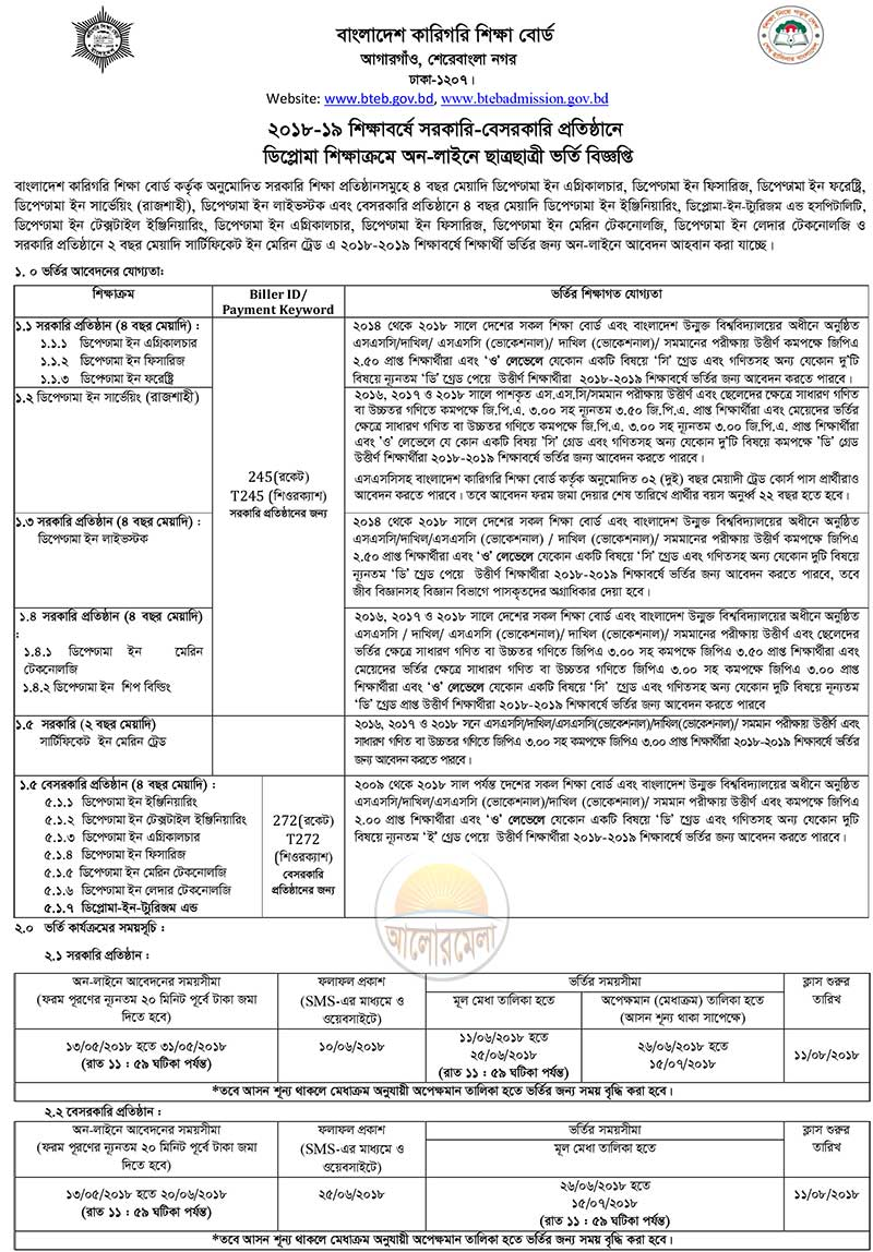 Polytechnic and Diploma Admission Circular