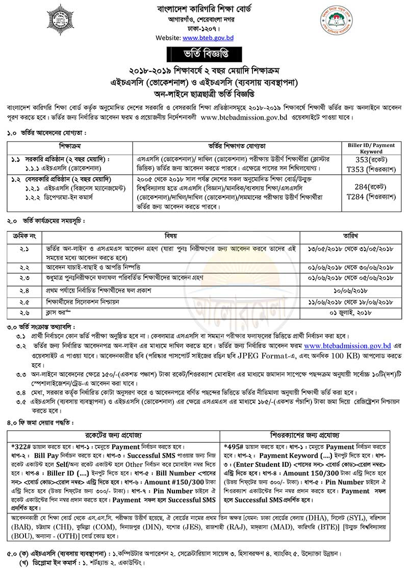 technical board admission circular 2018