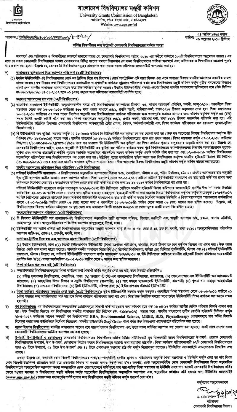 UGC Notice 2018 About Private University Admission
