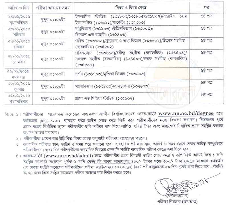 Degree 3rd Year Routine re revised 2