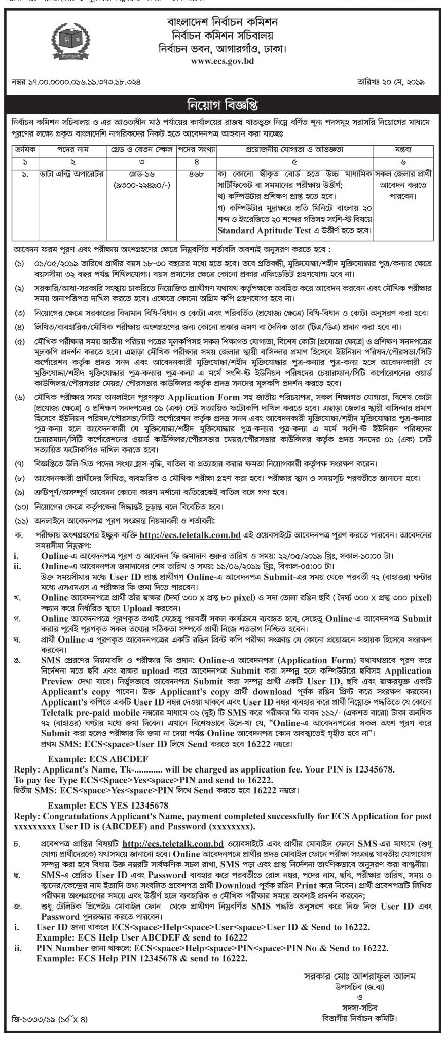 Bangladesh Election Commission Secretariat Job Circular