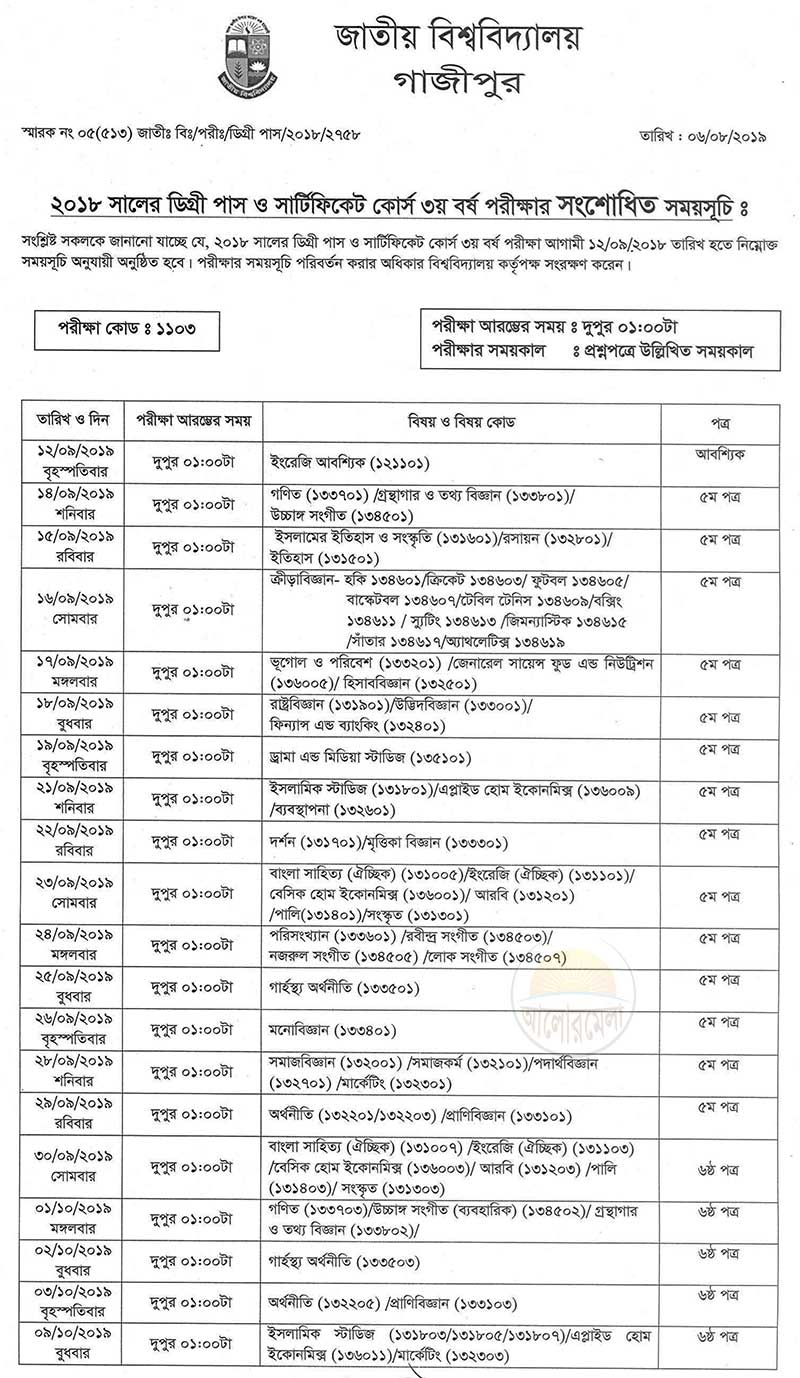 National University Degree Pass and Certificate Course Exam 2019