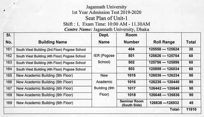 JNU Unit 1 Seat Plan Even page 006