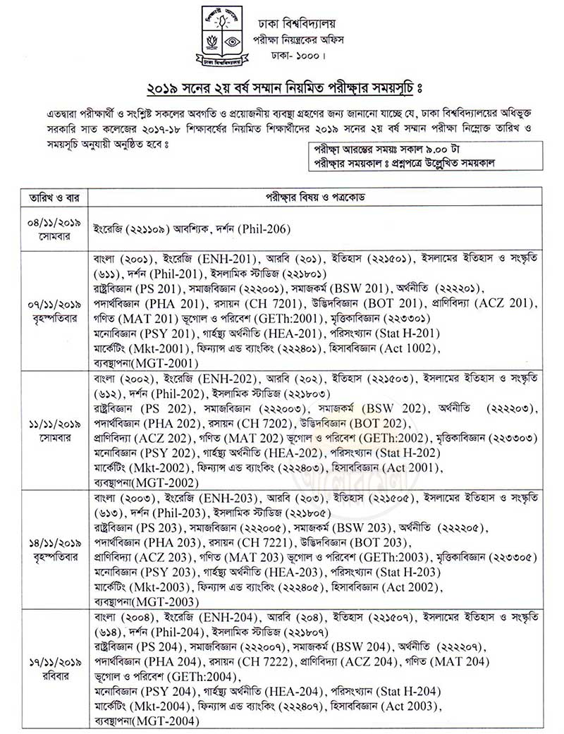 DU 7College 2nd Year Exam Routine